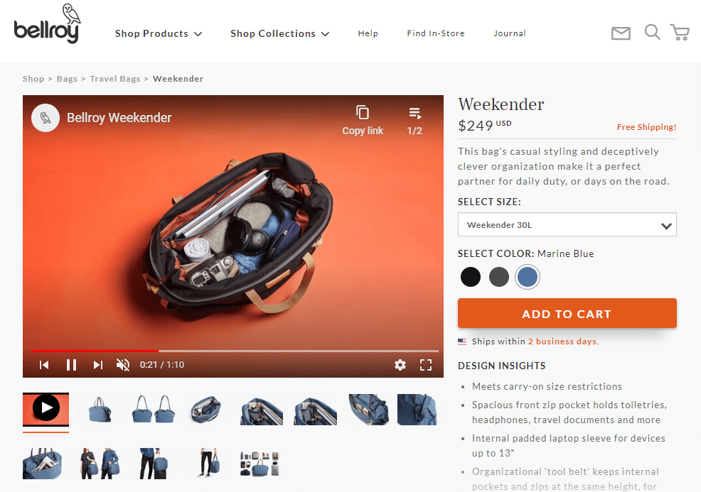 Bellroy does well with product video