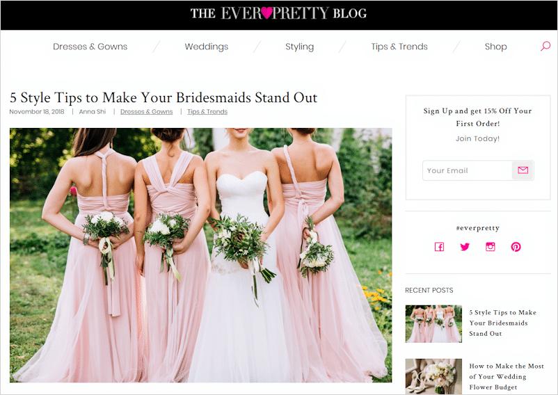 Ever Pretty eCommerce Blog branding