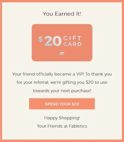 Magento eCommerce Refer a Friend Programs - Fabletics Example